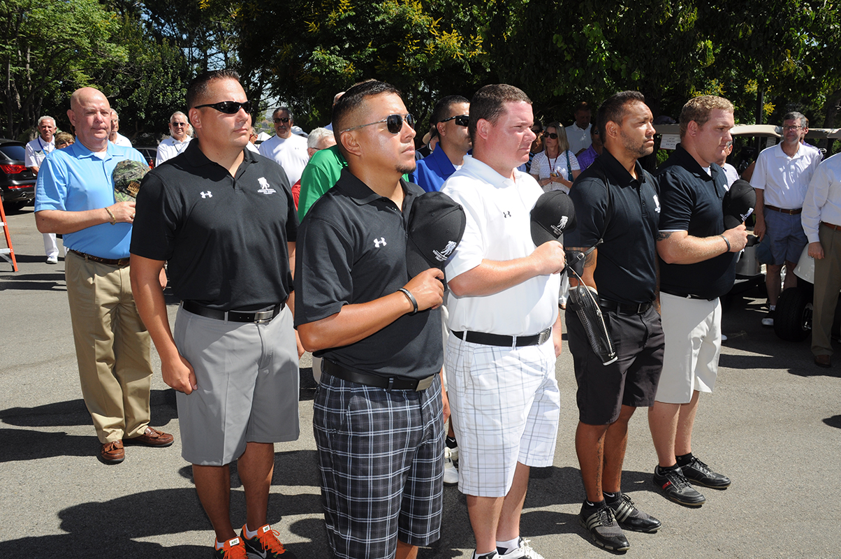 Wounded warriors during the National Anthem.